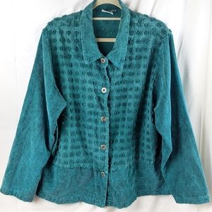 VINTAGE textured button-up top